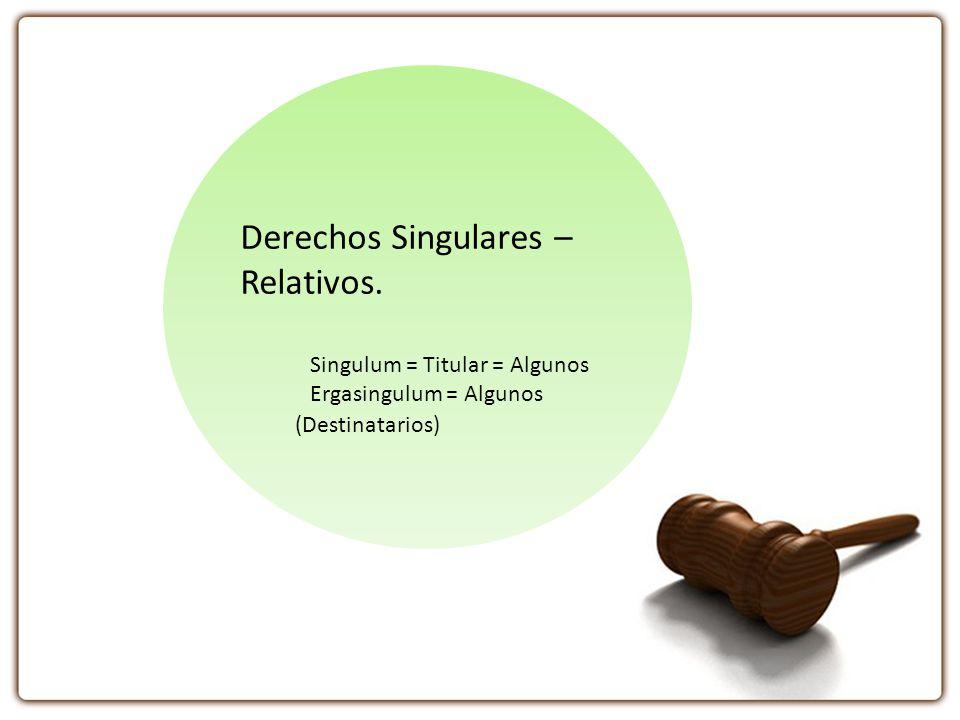 Derechos Singulares – Relativos. Singulum = Titular = Algunos Ergasingulum = Algunos (Destinatarios)