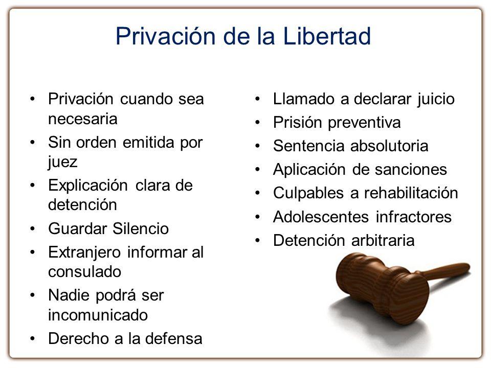 Privación de la Libertad Privación cuando sea necesaria Sin orden emitida por juez Explicación clara de detención Guardar Silencio Extranjero informar