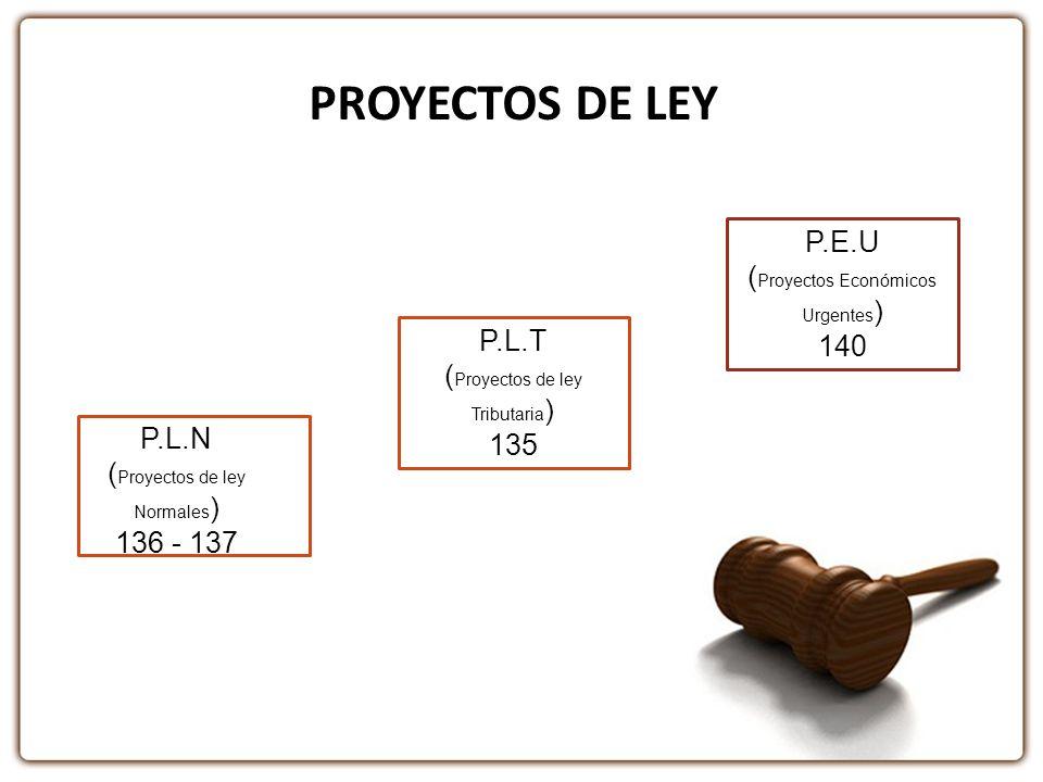 PROYECTOS DE LEY P.L.N ( Proyectos de ley Normales ) 136 - 137 P.L.T ( Proyectos de ley Tributaria ) 135 P.E.U ( Proyectos Económicos Urgentes ) 140