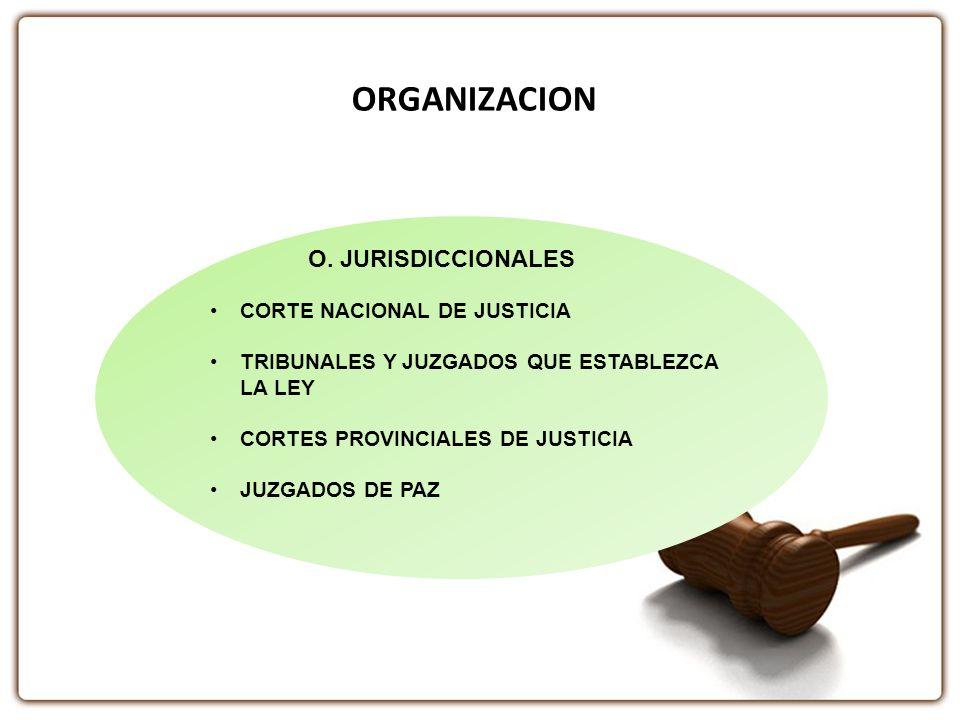 ORGANIZACION O. JURISDICCIONALES CORTE NACIONAL DE JUSTICIA TRIBUNALES Y JUZGADOS QUE ESTABLEZCA LA LEY CORTES PROVINCIALES DE JUSTICIA JUZGADOS DE PA