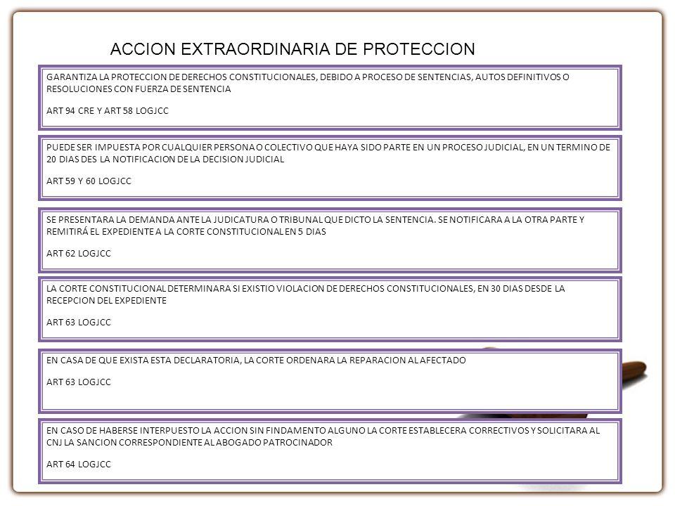 GARANTIZA LA PROTECCION DE DERECHOS CONSTITUCIONALES, DEBIDO A PROCESO DE SENTENCIAS, AUTOS DEFINITIVOS O RESOLUCIONES CON FUERZA DE SENTENCIA ART 94