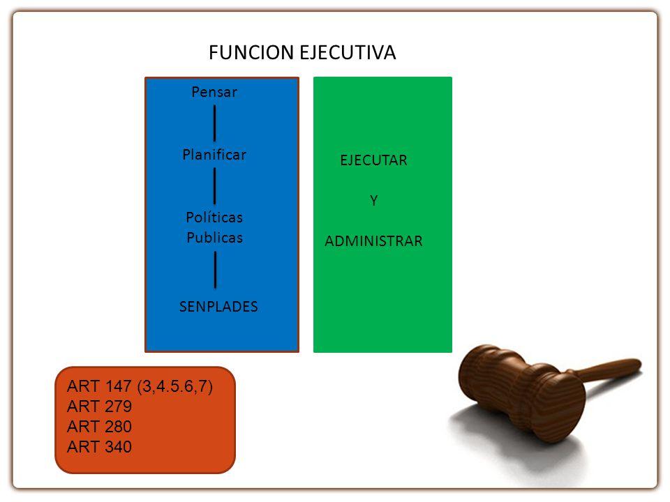 FUNCION EJECUTIVA Pensar Planificar Políticas Publicas SENPLADES EJECUTAR Y ADMINISTRAR ART 147 (3,4.5.6,7) ART 279 ART 280 ART 340