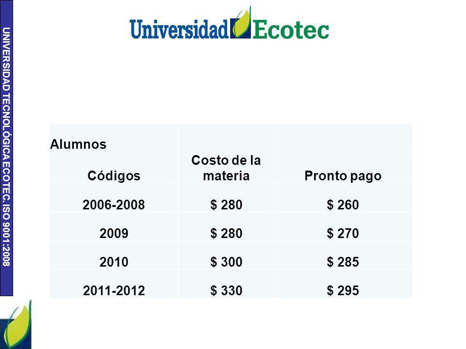 UNIVERSIDAD TECNOLÓGICA ECOTEC. ISO 9001:2008 Alumnos Códigos Costo de la materiaPronto pago 2006-2008$ 280$ 260 2009$ 280$ 270 2010$ 300$ 285 2011-20
