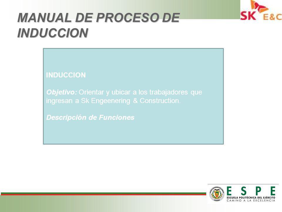 MANUAL DE PROCESO DE INDUCCION INDUCCION Objetivo: Orientar y ubicar a los trabajadores que ingresan a Sk Engeenering & Construction.