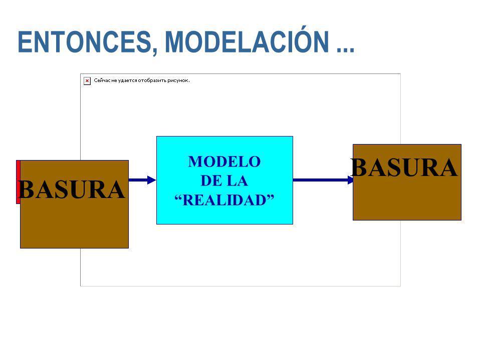 ENTONCES, MODELACIÓN... MODELO DE LA REALIDAD OUTPUT DATA INPUT DATA DATOS DE ENTRADA INPUT DATA DATOS DE ENTRADA BASURA