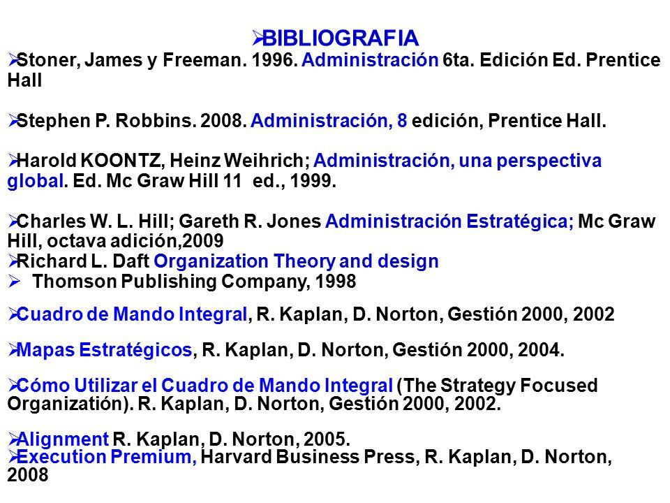 BIBLIOGRAFIA Stoner, James y Freeman. 1996. Administración 6ta. Edición Ed. Prentice Hall Stephen P. Robbins. 2008. Administración, 8 edición, Prentic