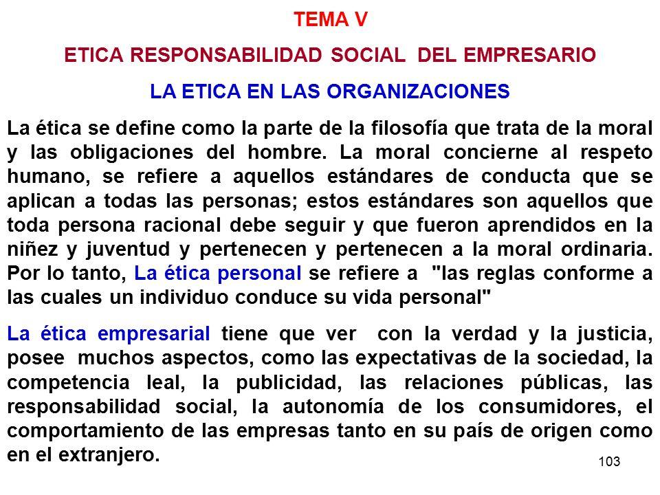 103 TEMA V ETICA RESPONSABILIDAD SOCIAL DEL EMPRESARIO LA ETICA EN LAS ORGANIZACIONES La ética se define como la parte de la filosofía que trata de la moral y las obligaciones del hombre.