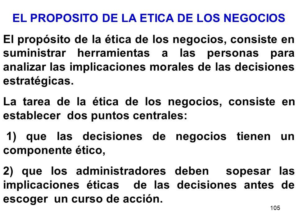 105 EL PROPOSITO DE LA ETICA DE LOS NEGOCIOS El propósito de la ética de los negocios, consiste en suministrar herramientas a las personas para analizar las implicaciones morales de las decisiones estratégicas.