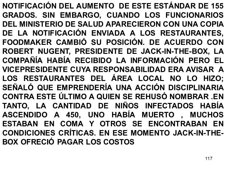 117 NOTIFICACIÓN DEL AUMENTO DE ESTE ESTÁNDAR DE 155 GRADOS.