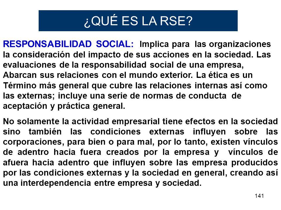 141 RESPONSABILIDAD SOCIAL: Implica para las organizaciones la consideración del impacto de sus acciones en la sociedad. Las evaluaciones de la respon