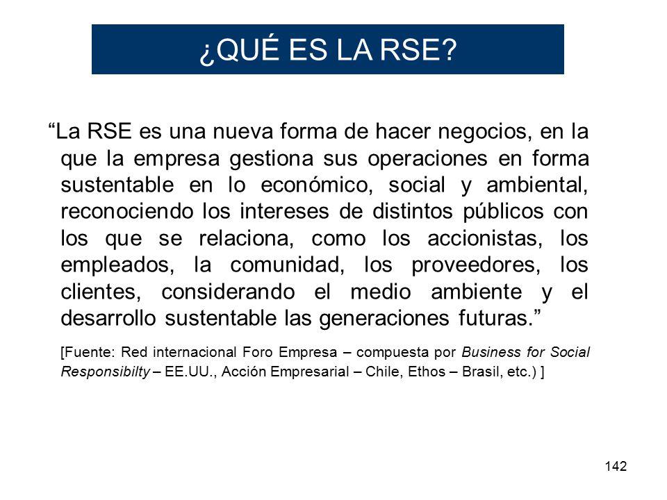 142 La RSE es una nueva forma de hacer negocios, en la que la empresa gestiona sus operaciones en forma sustentable en lo económico, social y ambiental, reconociendo los intereses de distintos públicos con los que se relaciona, como los accionistas, los empleados, la comunidad, los proveedores, los clientes, considerando el medio ambiente y el desarrollo sustentable las generaciones futuras.