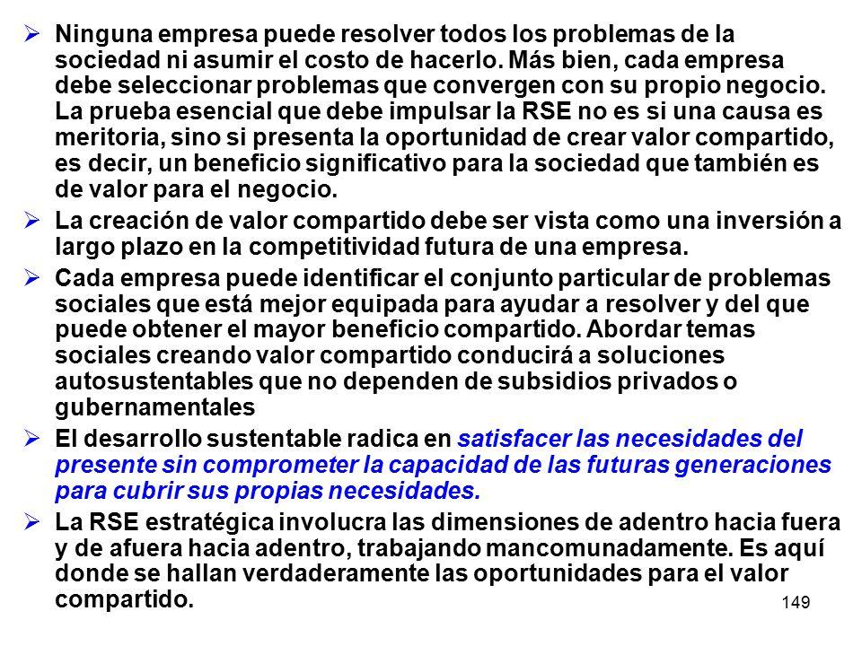 149 Ninguna empresa puede resolver todos los problemas de la sociedad ni asumir el costo de hacerlo. Más bien, cada empresa debe seleccionar problemas