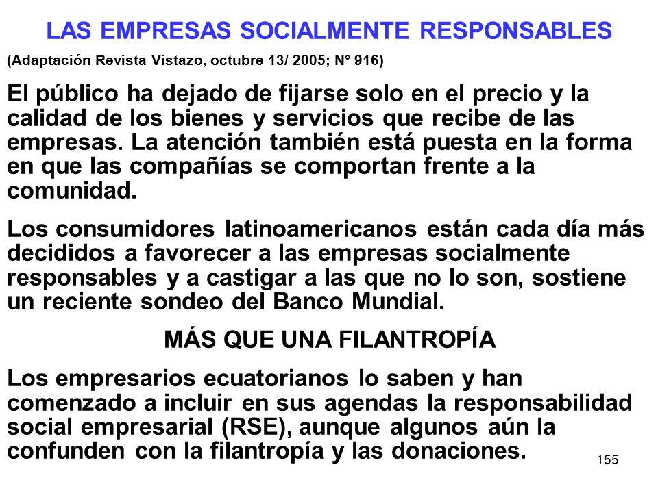 155 LAS EMPRESAS SOCIALMENTE RESPONSABLES (Adaptación Revista Vistazo, octubre 13/ 2005; N° 916) El público ha dejado de fijarse solo en el precio y la calidad de los bienes y servicios que recibe de las empresas.
