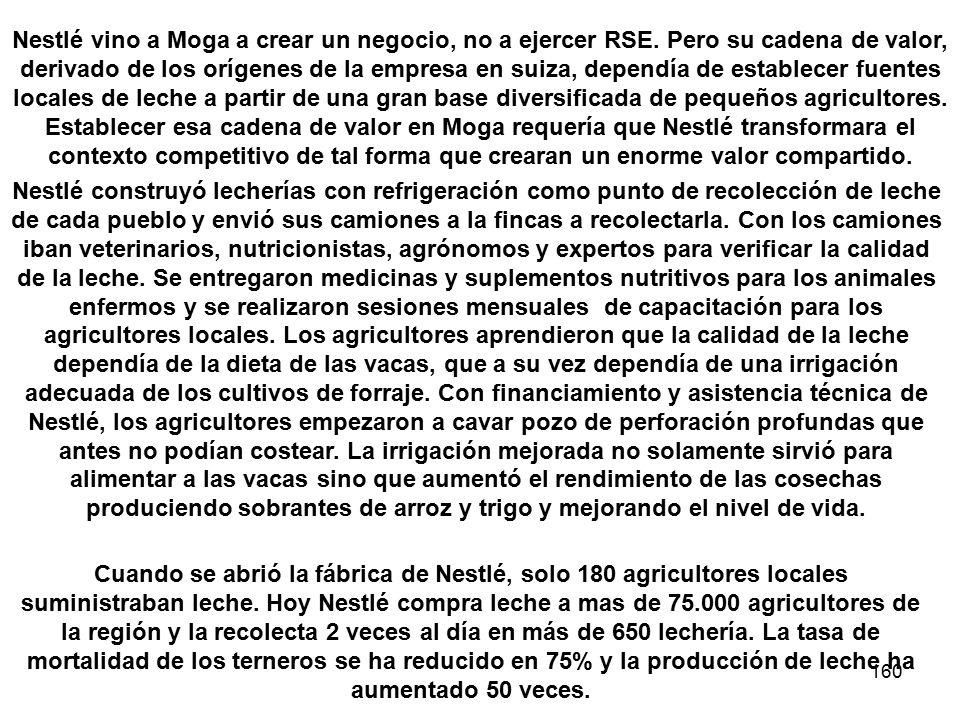 160 Nestlé vino a Moga a crear un negocio, no a ejercer RSE. Pero su cadena de valor, derivado de los orígenes de la empresa en suiza, dependía de est