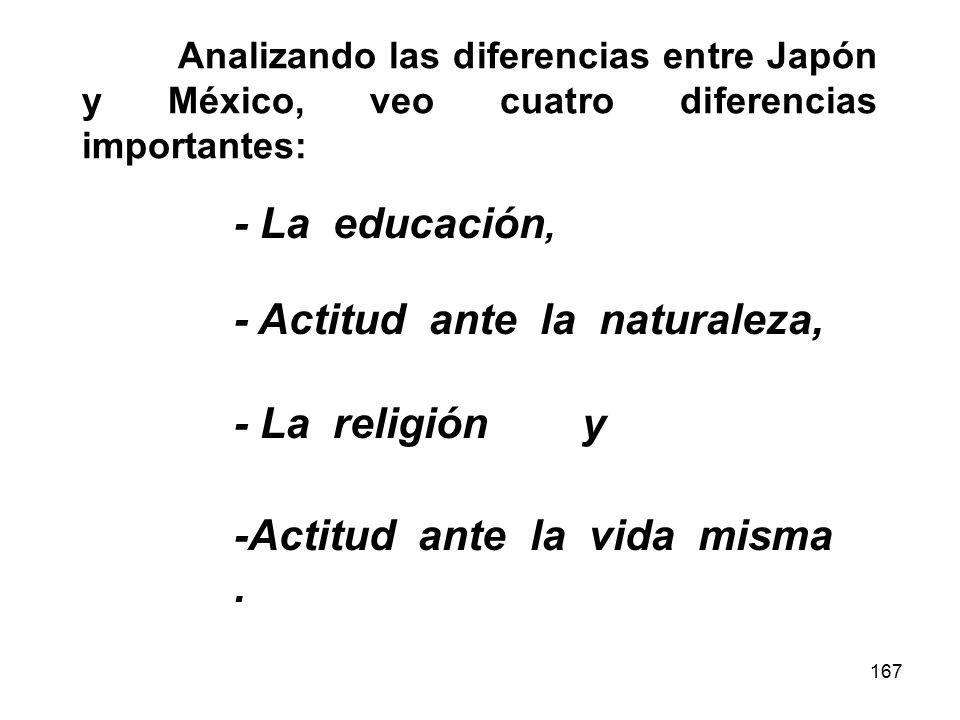 167 Analizando las diferencias entre Japón y México, veo cuatro diferencias importantes: -Actitud ante la vida misma. - La educación, - Actitud ante l