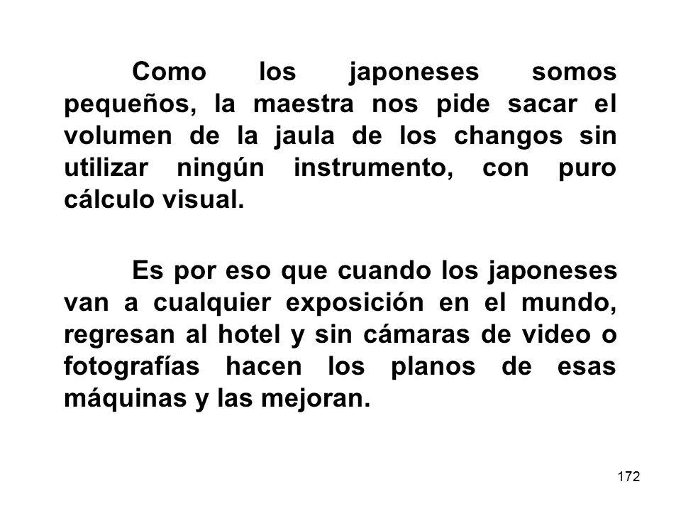 172 Como los japoneses somos pequeños, la maestra nos pide sacar el volumen de la jaula de los changos sin utilizar ningún instrumento, con puro cálculo visual.