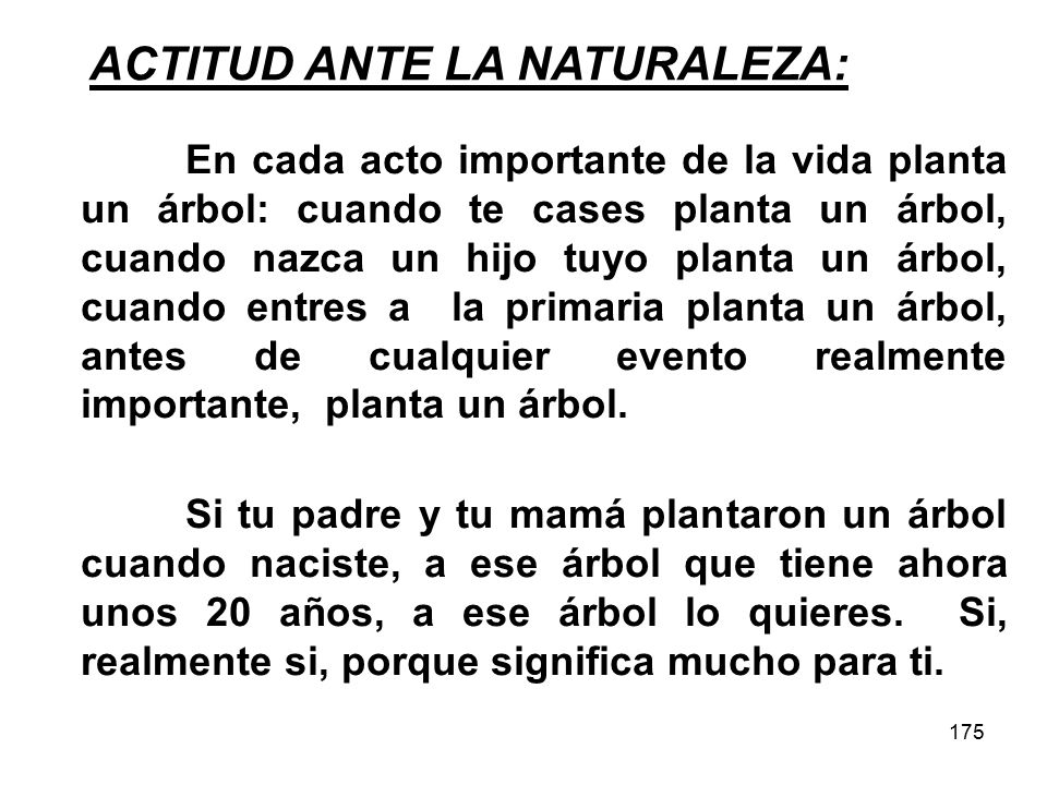 175 ACTITUD ANTE LA NATURALEZA: Si tu padre y tu mamá plantaron un árbol cuando naciste, a ese árbol que tiene ahora unos 20 años, a ese árbol lo quieres.