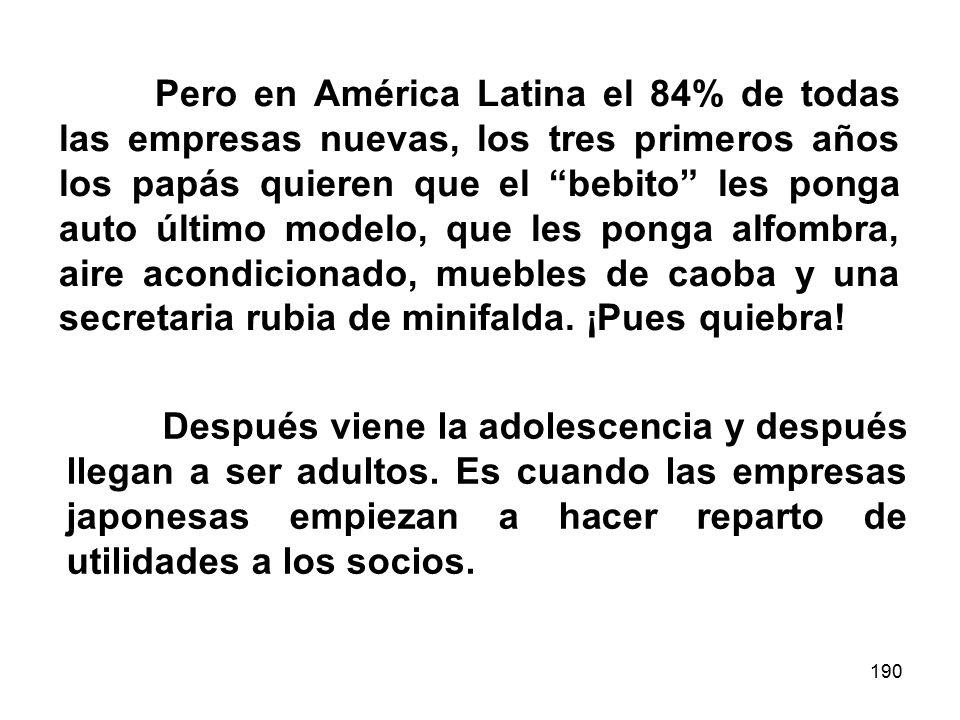 190 Pero en América Latina el 84% de todas las empresas nuevas, los tres primeros años los papás quieren que el bebito les ponga auto último modelo, que les ponga alfombra, aire acondicionado, muebles de caoba y una secretaria rubia de minifalda.