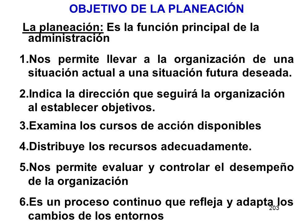 203 OBJETIVO DE LA PLANEACIÓN La planeación: Es la función principal de la administración 1.Nos permite llevar a la organización de una situación actual a una situación futura deseada.