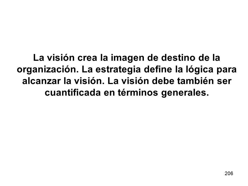 206 La visión crea la imagen de destino de la organización. La estrategia define la lógica para alcanzar la visión. La visión debe también ser cuantif