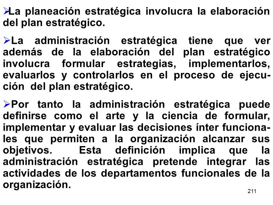211 La planeación estratégica involucra la elaboración del plan estratégico. La administración estratégica tiene que ver además de la elaboración del
