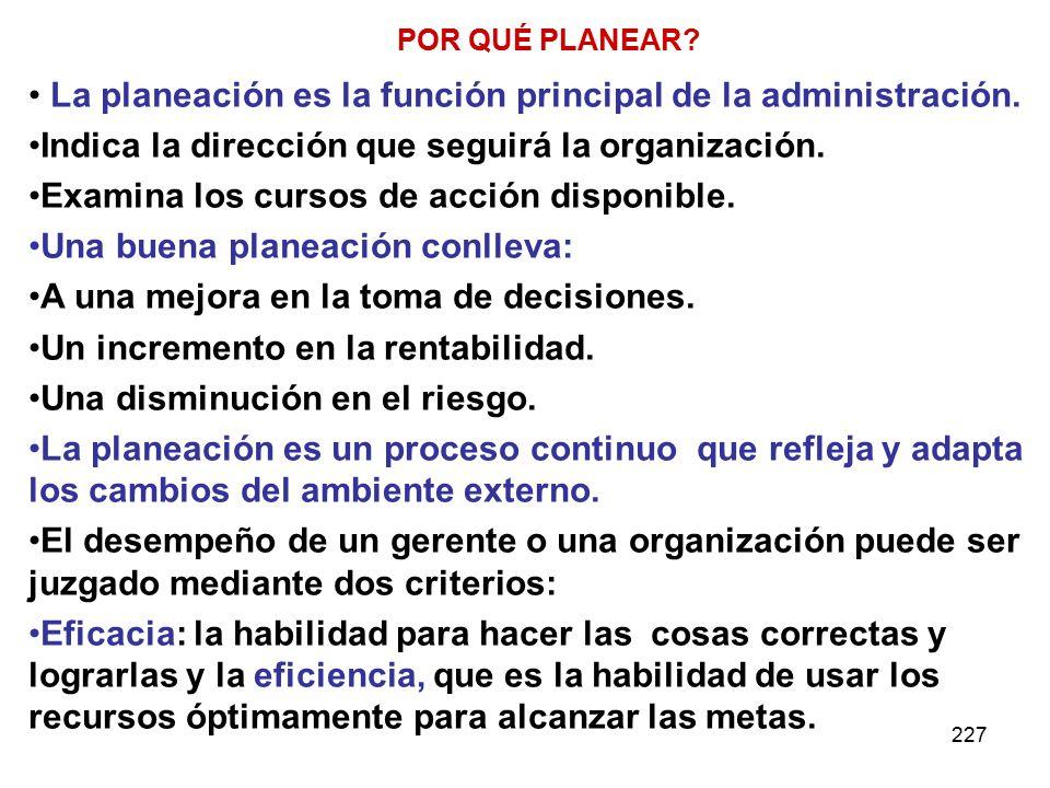 227 POR QUÉ PLANEAR.La planeación es la función principal de la administración.
