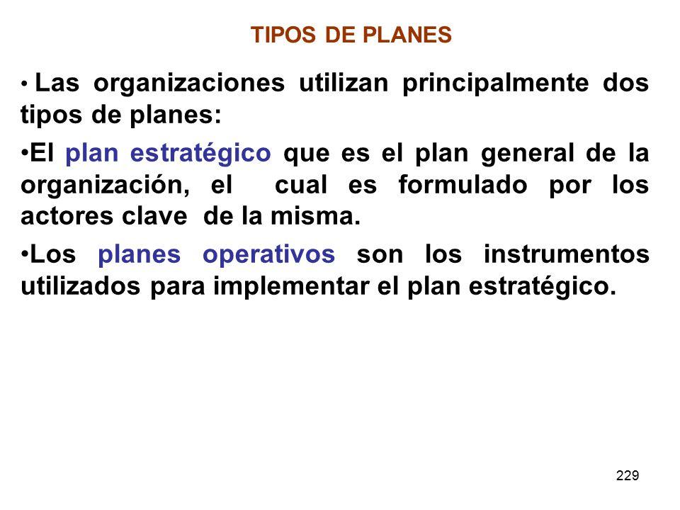 229 TIPOS DE PLANES Las organizaciones utilizan principalmente dos tipos de planes: El plan estratégico que es el plan general de la organización, el cual es formulado por los actores clave de la misma.