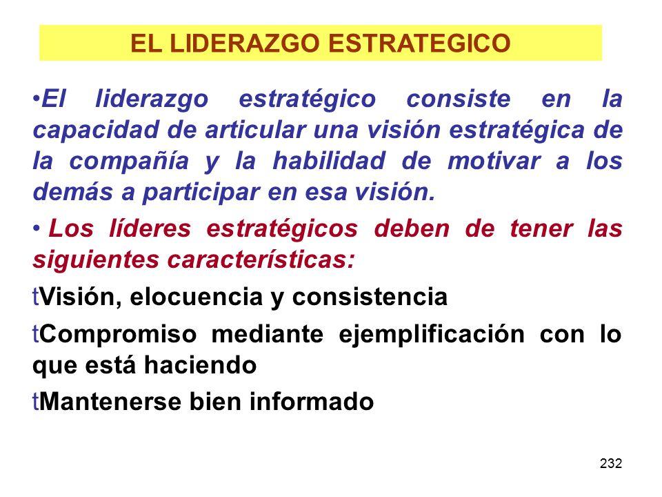 232 EL LIDERAZGO ESTRATEGICO El liderazgo estratégico consiste en la capacidad de articular una visión estratégica de la compañía y la habilidad de mo