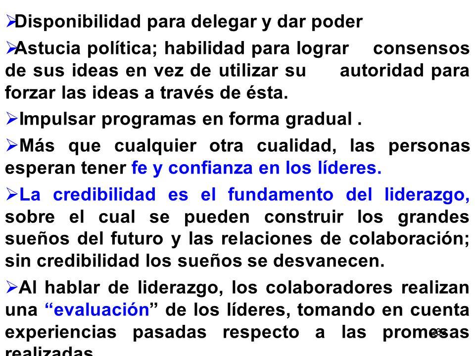 233 Disponibilidad para delegar y dar poder Astucia política; habilidad para lograr consensos de sus ideas en vez de utilizar su autoridad para forzar las ideas a través de ésta.