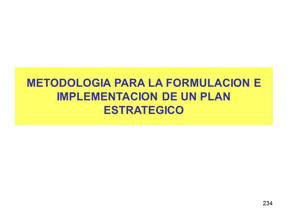 234 METODOLOGIA PARA LA FORMULACION E IMPLEMENTACION DE UN PLAN ESTRATEGICO