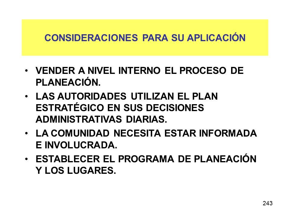 243 CONSIDERACIONES PARA SU APLICACIÓN VENDER A NIVEL INTERNO EL PROCESO DE PLANEACIÓN.