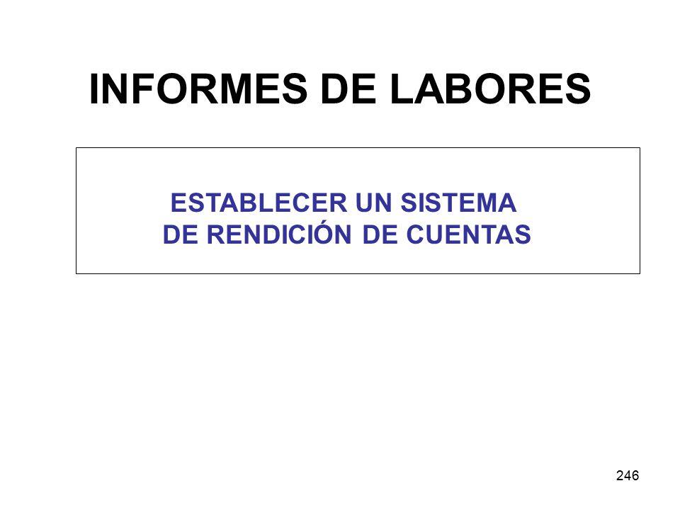 246 INFORMES DE LABORES ESTABLECER UN SISTEMA DE RENDICIÓN DE CUENTAS