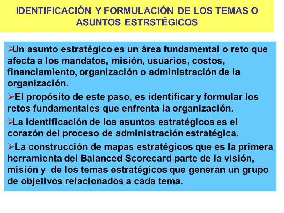 IDENTIFICACIÓN Y FORMULACIÓN DE LOS TEMAS O ASUNTOS ESTRSTÉGICOS Un asunto estratégico es un área fundamental o reto que afecta a los mandatos, misión, usuarios, costos, financiamiento, organización o administración de la organización.