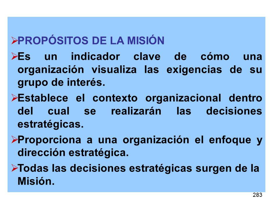 283 PROPÓSITOS DE LA MISIÓN Es un indicador clave de cómo una organización visualiza las exigencias de su grupo de interés. Establece el contexto orga
