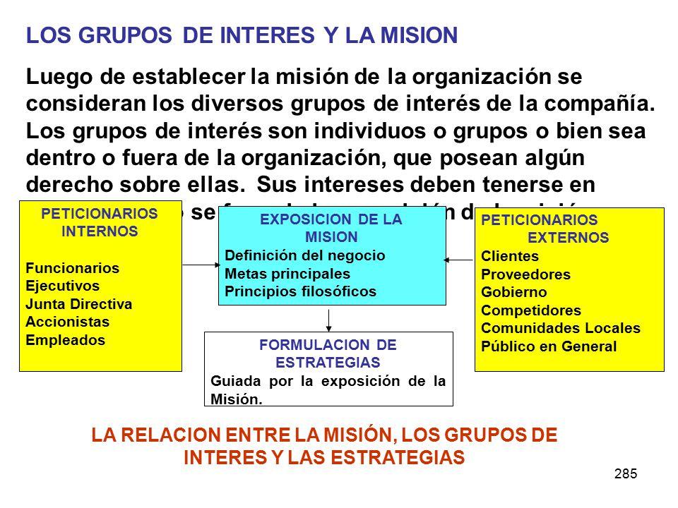 285 LOS GRUPOS DE INTERES Y LA MISION Luego de establecer la misión de la organización se consideran los diversos grupos de interés de la compañía. Lo