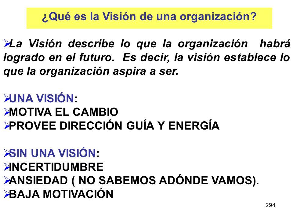 294 La Visión describe lo que la organización habrá logrado en el futuro.