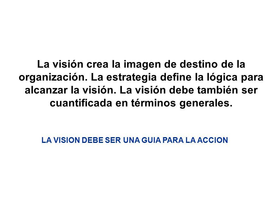 La visión crea la imagen de destino de la organización. La estrategia define la lógica para alcanzar la visión. La visión debe también ser cuantificad