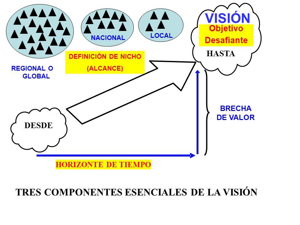 TRES COMPONENTES ESENCIALES DE LA VISIÓN DESDE * HORIZONTE DE TIEMPO BRECHA DE VALOR 8 HASTA LOCAL NACIONAL REGIONAL O GLOBAL DEFINICIÓN DE NICHO (ALC