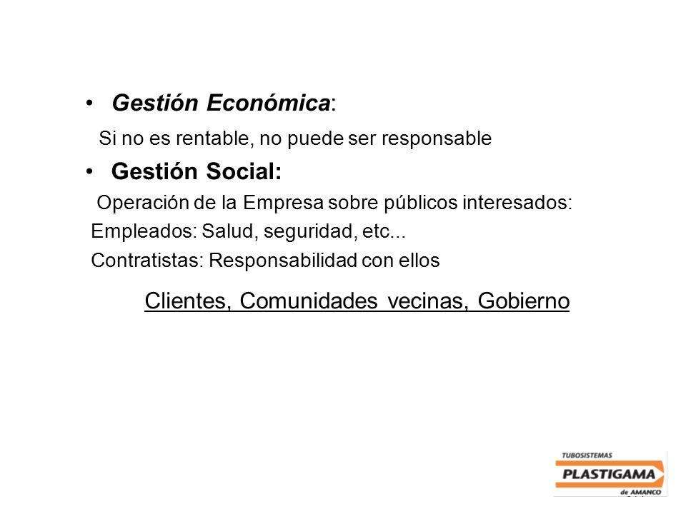 314 Gestión Económica: Si no es rentable, no puede ser responsable Gestión Social: Operación de la Empresa sobre públicos interesados: Empleados: Salu