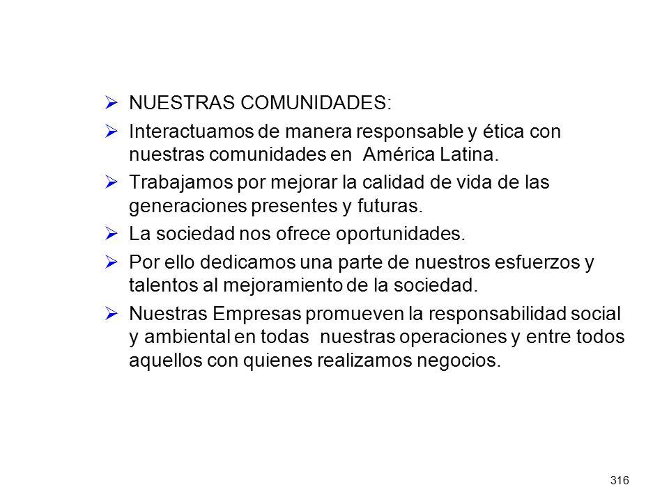 316 NUESTRAS COMUNIDADES: Interactuamos de manera responsable y ética con nuestras comunidades en América Latina. Trabajamos por mejorar la calidad de