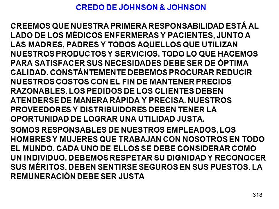 318 CREDO DE JOHNSON & JOHNSON CREEMOS QUE NUESTRA PRIMERA RESPONSABILIDAD ESTÁ AL LADO DE LOS MÉDICOS ENFERMERAS Y PACIENTES, JUNTO A LAS MADRES, PADRES Y TODOS AQUELLOS QUE UTILIZAN NUESTROS PRODUCTOS Y SERVICIOS.