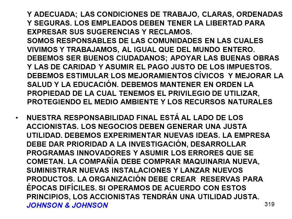 319 Y ADECUADA; LAS CONDICIONES DE TRABAJO, CLARAS, ORDENADAS Y SEGURAS. LOS EMPLEADOS DEBEN TENER LA LIBERTAD PARA EXPRESAR SUS SUGERENCIAS Y RECLAMO