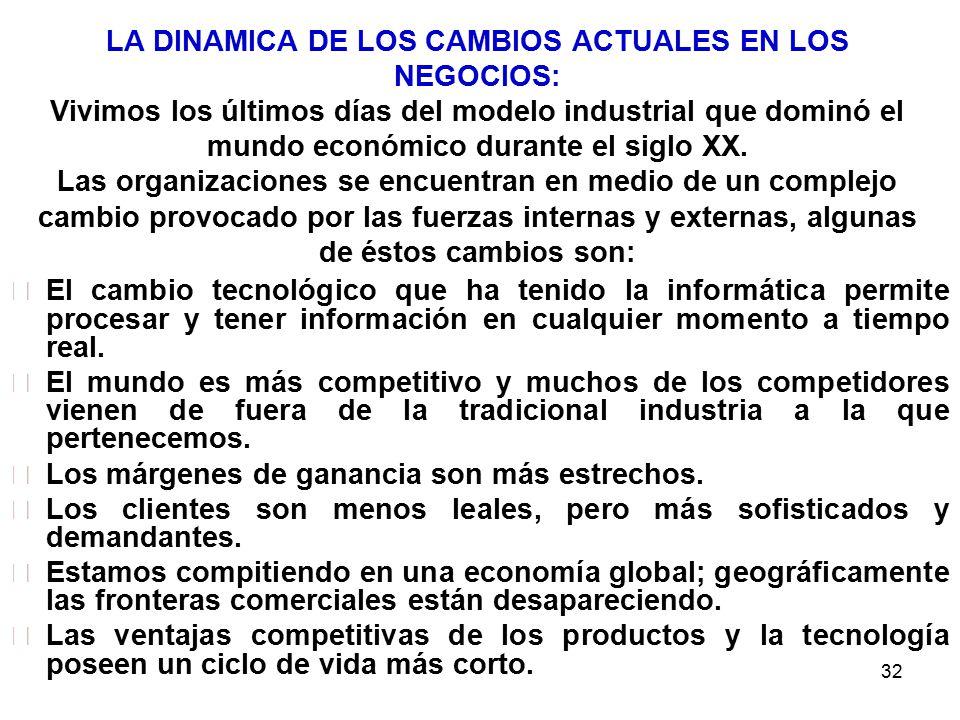 32 LA DINAMICA DE LOS CAMBIOS ACTUALES EN LOS NEGOCIOS: Vivimos los últimos días del modelo industrial que dominó el mundo económico durante el siglo XX.