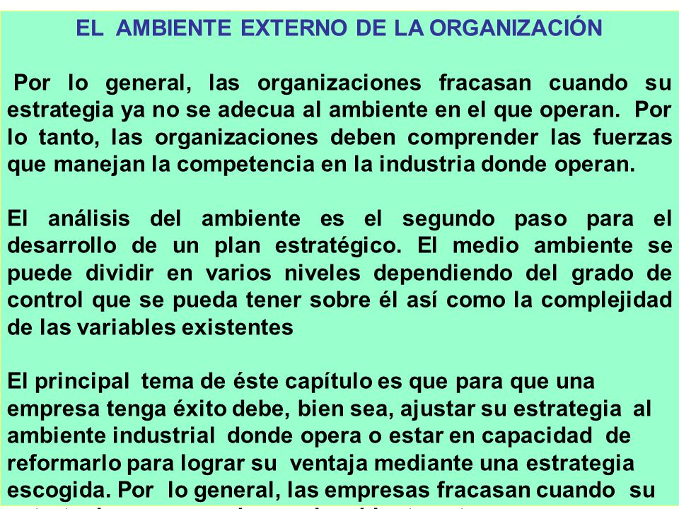 328 EL AMBIENTE EXTERNO DE LA ORGANIZACIÓN Por lo general, las organizaciones fracasan cuando su estrategia ya no se adecua al ambiente en el que oper