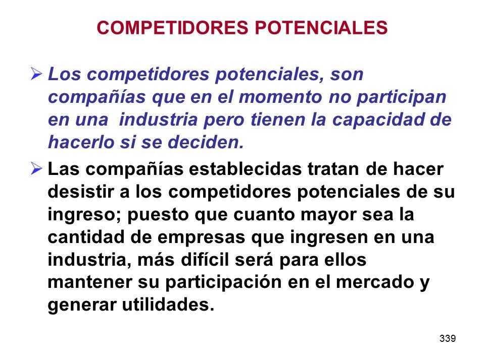 339 Los competidores potenciales, son compañías que en el momento no participan en una industria pero tienen la capacidad de hacerlo si se deciden..