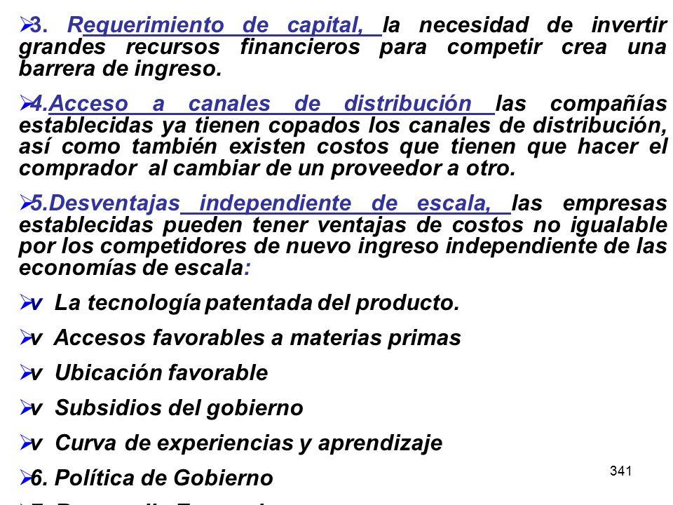 341 3. Requerimiento de capital, la necesidad de invertir grandes recursos financieros para competir crea una barrera de ingreso. 4.Acceso a canales d