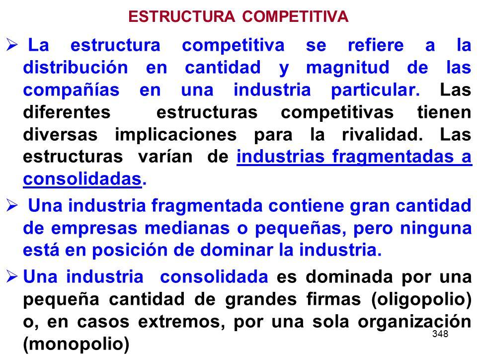348 ESTRUCTURA COMPETITIVA La estructura competitiva se refiere a la distribución en cantidad y magnitud de las compañías en una industria particular.