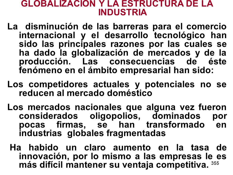 355 GLOBALIZACION Y LA ESTRUCTURA DE LA INDUSTRIA La disminución de las barreras para el comercio internacional y el desarrollo tecnológico han sido las principales razones por las cuales se ha dado la globalización de mercados y de la producción.