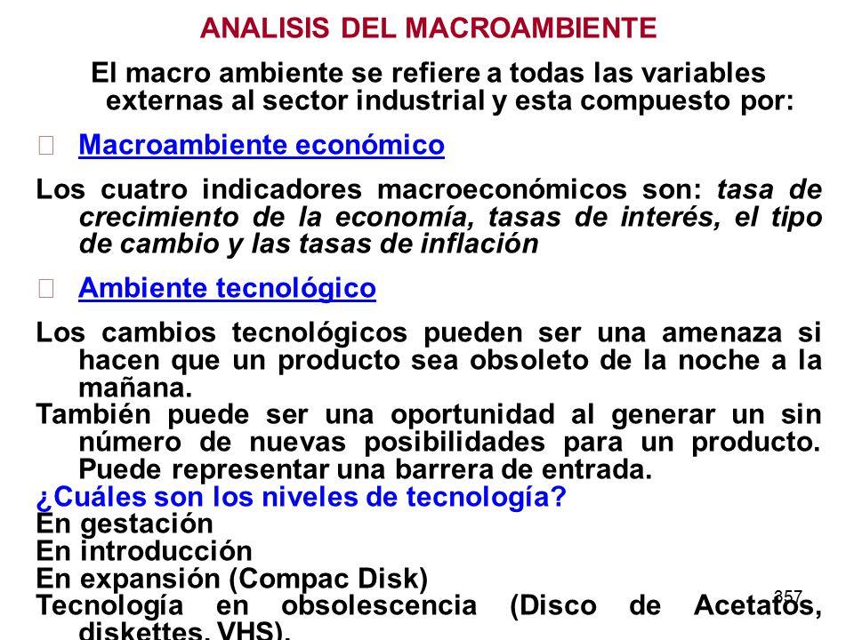 357 ANALISIS DEL MACROAMBIENTE El macro ambiente se refiere a todas las variables externas al sector industrial y esta compuesto por: Macroambiente ec