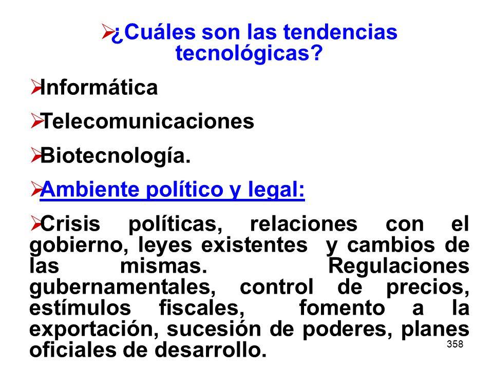 358 ¿Cuáles son las tendencias tecnológicas? Informática Telecomunicaciones Biotecnología. Ambiente político y legal: Crisis políticas, relaciones con